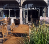 Table teck terrasse amarine arras plaza mobilier