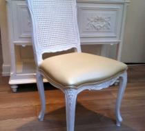 chaise cannée laquée blanc